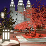 Christmas Lights At Temple Square Poster by Utah Images