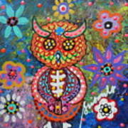 Owl Day Of The Dead Poster by Pristine Cartera Turkus