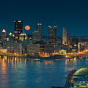 2011 Supermoon Over Pittsburgh Poster by Jennifer Grover