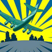 Jumbo Jet Plane Retro Poster by Aloysius Patrimonio