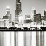 Chicago Skyline At Night Poster by Paul Velgos