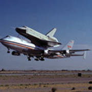 747 Takes Off With Space Shuttle Enterprise For Alt-1 Poster by Brian Lockett