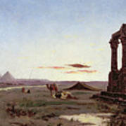 A Bedouin Encampment By A Ruined Temple  Poster by Alexandre Gabriel Decamps