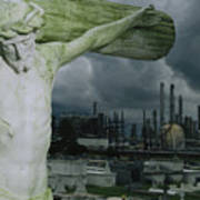 A Crucifixion Statue In A Cemetery Poster by Joel Sartore