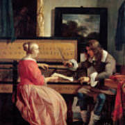 A Man And A Woman Seated By A Virginal Poster by Gabriel Metsu