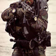 A Navy Seal Exits The Water Armed Poster by Michael Wood