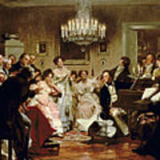 A Schubert Evening In A Vienna Salon Poster by Julius Schmid