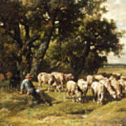 A Shepherd And His Flock Poster by Charles Emile Jacques