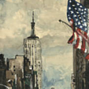 A Watercolor Sketch Of New York Poster by Dirk Dzimirsky