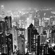 Aerial View Of Hong Kong Island At Night From The Peak Hksar China Poster by Joe Fox