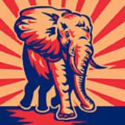 African Bull Elephant Charging Retro Poster by Aloysius Patrimonio
