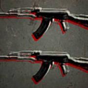 Ak47 Assault Rifle Pop Art Poster by Michael Tompsett