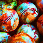 All American Pastime - Pile Of Baseballs - Painterly Poster by Wingsdomain Art and Photography