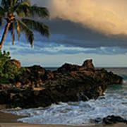 Aloha Naau Sunset Paako Beach Honuaula Makena Maui Hawaii Poster by Sharon Mau