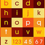 Alphabet Sunset Poster by Michael Tompsett