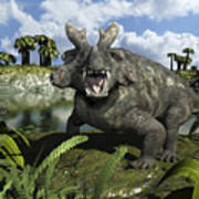 An Estemmenosuchus Mirabilis Stands Poster by Walter Myers