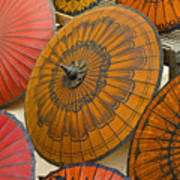 Asian Umbrellas Poster by Michele Burgess