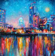 Austin Art Impressionistic Skyline Painting #2 Poster by Svetlana Novikova