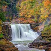 Autumn At The Lower Falls Poster by Rick Berk