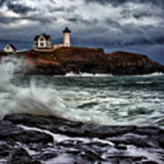 Autumn Storm At Cape Neddick Poster by Rick Berk
