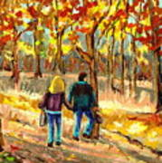 Autumn  Stroll On Mount Royal Poster by Carole Spandau