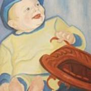 Baby With Baseball Glove Poster by Suzanne  Marie Leclair