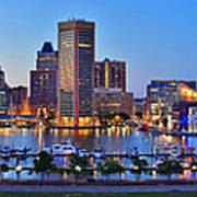 Baltimore Skyline Inner Harbor Panorama At Dusk Poster by Jon Holiday