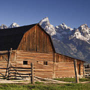 Barn In The Mountains Poster by Andrew Soundarajan
