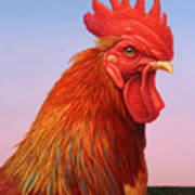 Big Red Rooster Poster by James W Johnson