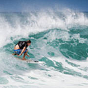 Big Wave Surfer At La Perouse Bay Maui Poster by Denis Dore