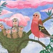 Bird People The Chaffinch Family Poster by Sushila Burgess