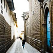 Blue Door In Cusco Poster by Darcy Michaelchuk