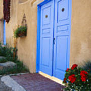 Blue Door Of An Adobe Building Taos New Mexico Poster by George Oze