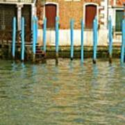 Blue Poles In Venice Poster by Michael Henderson