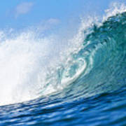 Blue Tube Wave Poster by Paul Topp