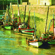 Boats At Honfluer France Poster by Fred Jinkins