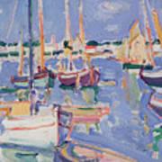 Boats At Royan Poster by Samuel John Peploe