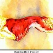 Borzoi Red Flight Poster by Kathleen Sepulveda