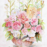 Bowl Full Of Roses Poster by Arline Wagner