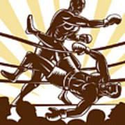 Boxer Knocking Out Poster by Aloysius Patrimonio