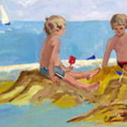 Boys At The Beach Poster by Betty Pieper