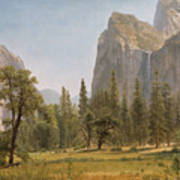 Bridal Veil Falls Yosemite Valley California Poster by Albert Bierstadt