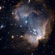 Bright Blue Newborn Stars Blast A Hole Poster by ESA and nASA