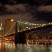 Brooklyn Bridge At Dusk Poster by Shawn Everhart