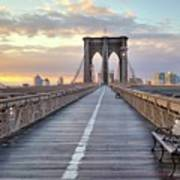 Brooklyn Bridge At Sunrise Poster by Anne Strickland Fine Art Photography