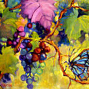 Butterfly And Grapes Poster by Peggy Wilson