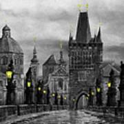 Bw Prague Charles Bridge 04 Poster by Yuriy  Shevchuk