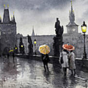 Bw Prague Charles Bridge 05 Poster by Yuriy  Shevchuk