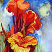 Canna Lilies Poster by Priti Lathia