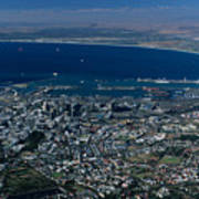 Capetown South Africa Aerial Poster by Sandra Bronstein